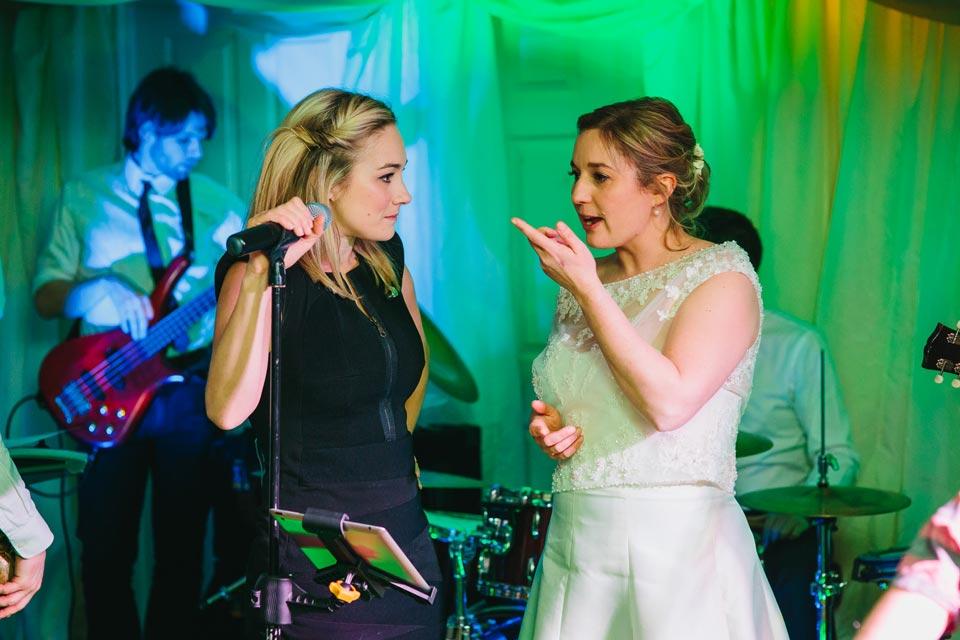 bride and wedding singer